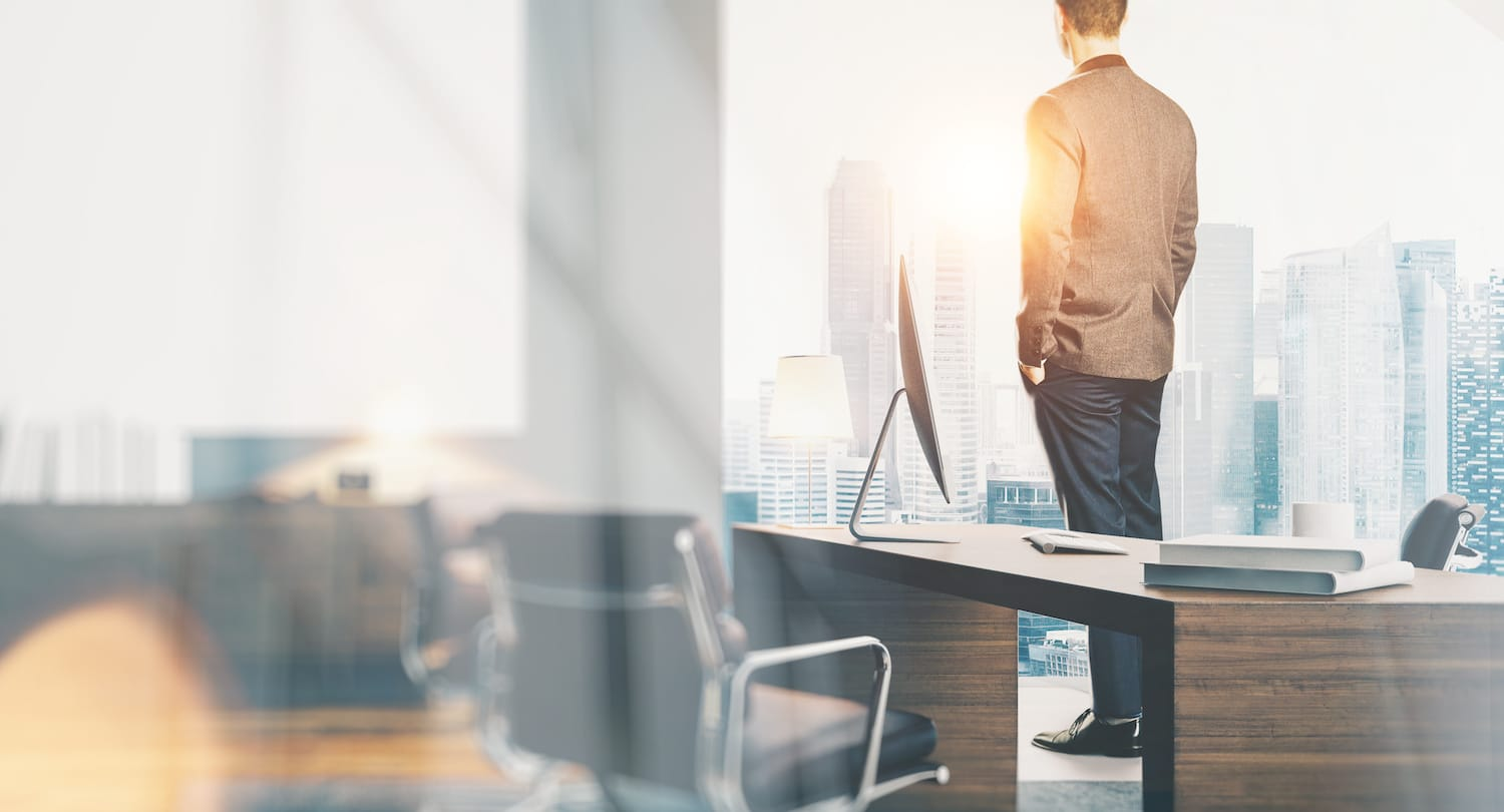 Businessman wearing modern suit and looking at the city in contemporary office. Workspace loft with panoramic windows.